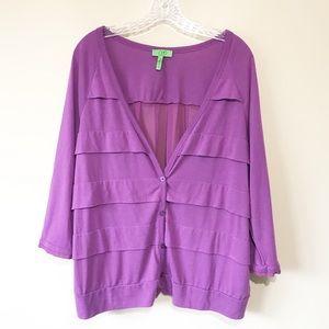 LOGO Lori Goldstein Instant Chic Purple Cardigan